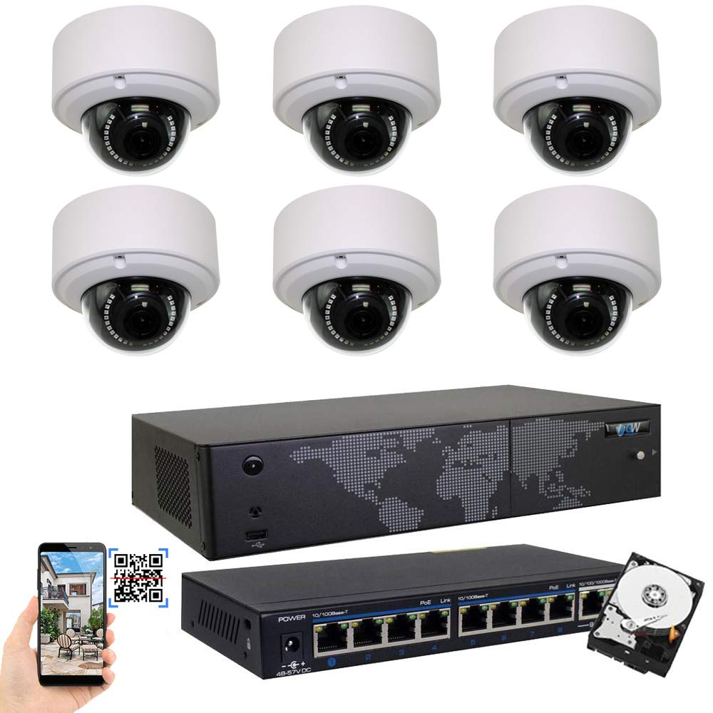 GW Security 8CH 4K NVR H.265 8MP IP Security Camera System – 6 x UltraHD 4K 8.0 Megapixel 2.8 12mm Varifocal Zoom PoE IP Dome Camera 3TB Hard Drive – Support ONVIF Quick QR Code Remote Access
