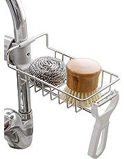 Kaxich Stainless Steel Kitchen Sponge Holder Sink Caddy Organizer Sponge Soap Brush Dishwashing Liquid Drainer Kitchen Faucet Storage Rack