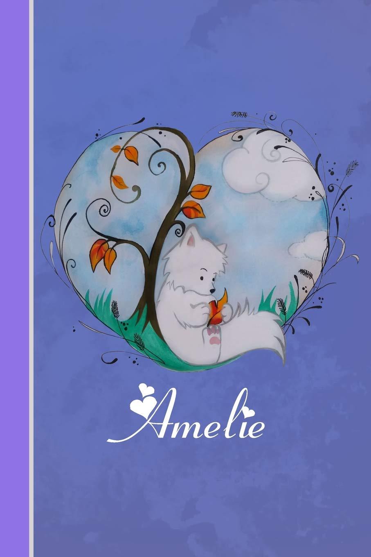 Amelie: Cahier personnalisé | Fox avec coeur | Couverture ...