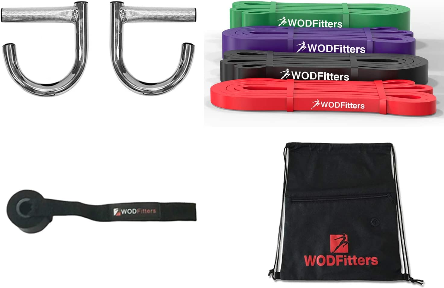 WODFitters Home Gym with 4 Resistance Bands - Full Body Workout at Home and While Traveling