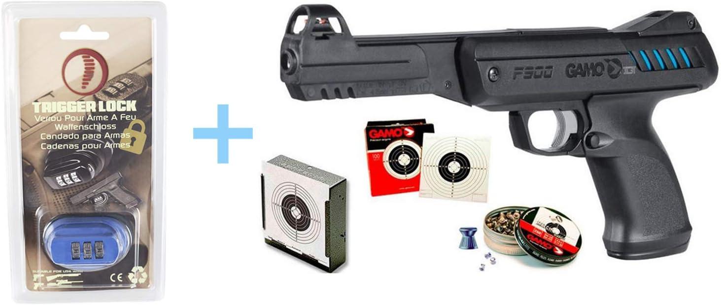 Pack Pistola Aire Comprimido Gamo P-900 IGT, pistola de perdigones, calibre 4.5 mm, potencia 3,5 Julios, pistola de plomos + Accesorios(Tragabalines, balines match y dianas) + Candado Seguridad Yatek.