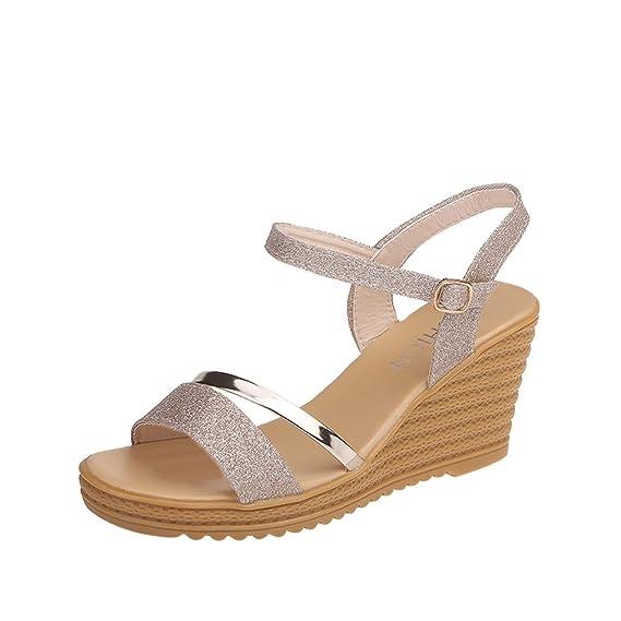 Sandalen Damen Kolylong® Frauen Elegant Pailletten Sandalen mit Keilabsatz Plateau Wedge Peep Toe Knöchel Schnalle Offene Sandalen High Heels Platform
