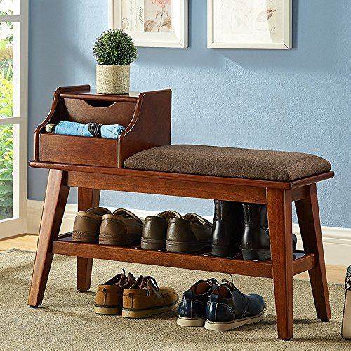 Shelves MEIDUO Footstool Housewares 2-Tier Wood Shoe Rack Bench Storage Organiser Walnut,Milky (Color : Walnut, Size : ()