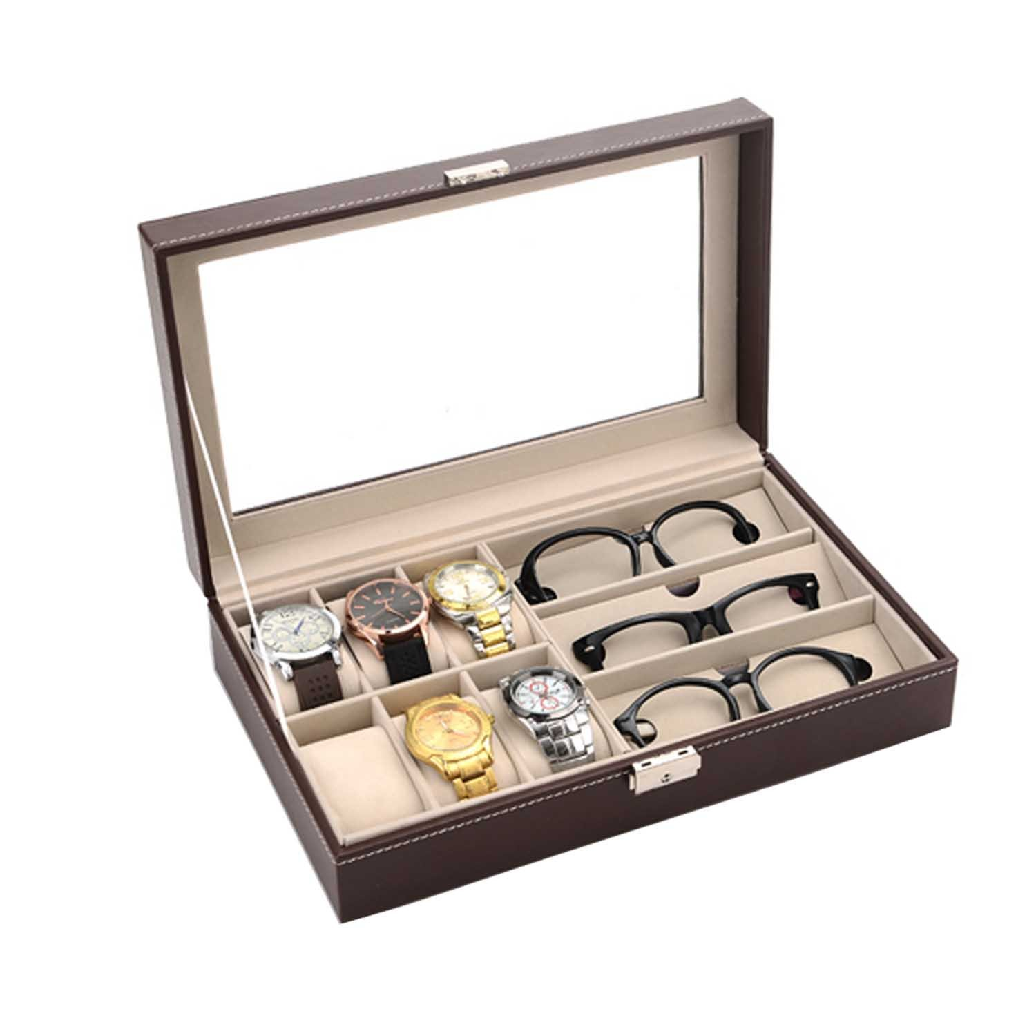 365ae9d2689 Amazon.com  Autoark Leather 6 Watch Box Jewelry Case and 3 Piece Eyeglasses  Storage and Sunglass Glasses Display Case Organizer