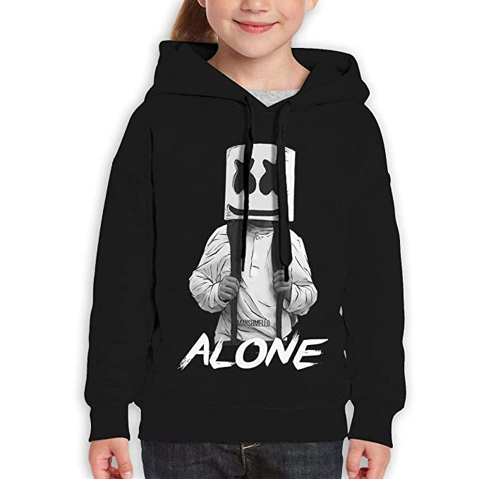 7fc1078103f Amazon.com  AlbertV Marshmello Alone Youth Hoodies Hooded Sweatshirt for  Boys and Girls Black  Clothing