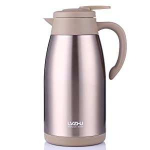 Stainless Steel Thermal Coffee Carafe 2 Liter,Large Double Walled Insulated Vacuum Flask,12 Hour Heat Retention Beverage Server Pot,With Press Button Easy Open(Golden)