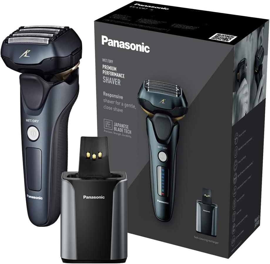 Panasonic ES-LV97 Wet & Dry Electric 5-Blade Shaver con soporte de limpieza y carga, enchufe de 2 pines UK