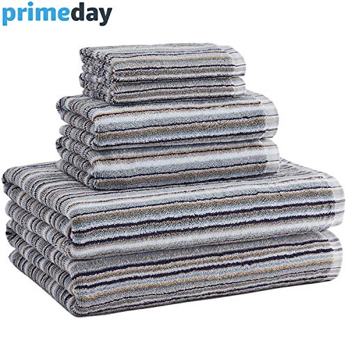 Truly Lou Bamboo and Cotton 6 Piece Striped Bath Towel Set | Soft, Absorbent and Eco-Friendly | Decorative Multi Color Stripes | 2 Bath Towels, 2 Hand Towels, and 2 Washcloths (Navy/Grey)