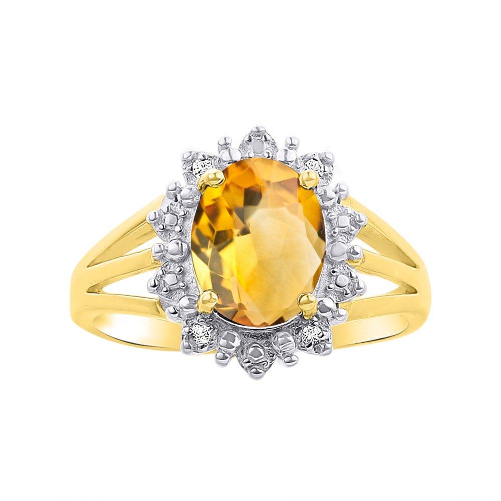 Princess Diana Inspired Halo Diamond & Citrine Ring Set In 14K Yellow Gold