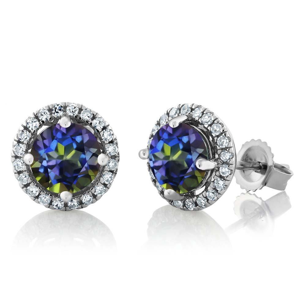 2.21 Ct Round Blue Mystic Topaz 14K White Gold Diamond Halo Earrings