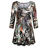 Youngh Womens Blouses Plus Size Floral Print Loose Three Quarte Sleeve Casual Tunic Blouse T Shirt Tops