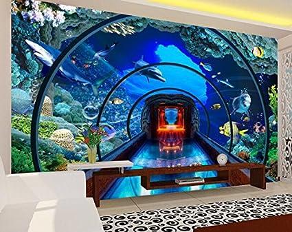 HHCYY 3D Fondo De Pantalla Submarino Mundo Acuario Estéreo Murales Tv Fondo Sala De Estar Pared