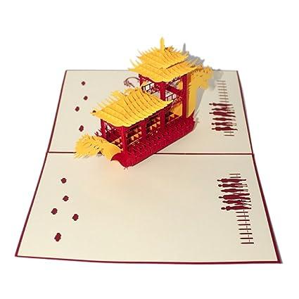 Artbro Exquisito estilo chino 3D papel de corte tarjeta de ...