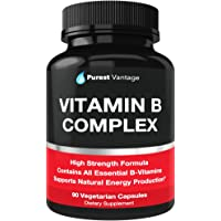 Vitamin B Complex Vitamins B12, B1, B2, B3, B5, B6, B7, B9, Folic Acid - Super B Complex Vitamins for Women, Men, Adults - Aids in Energy, Stress, and Immunity - 90 Vegetarian Capsules