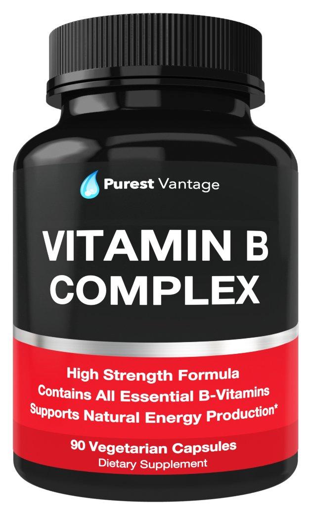 Vitamin B Complex Vitamins B12, B1, B2, B3, B5, B6, B7, B9, Folic Acid - Super B Complex Vitamins for Women, Men, Adults - Aids in Energy, Stress, and Immunity - 90 Vegetarian Capsules