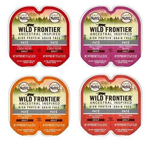(Nutro Wild Frontier Grain Free Pate Cat Food 4 Flavor 8 Can Variety Bundle, (2) each: Chicken Beef, Turkey, Chicken, Salmon (2.64 Ounces))