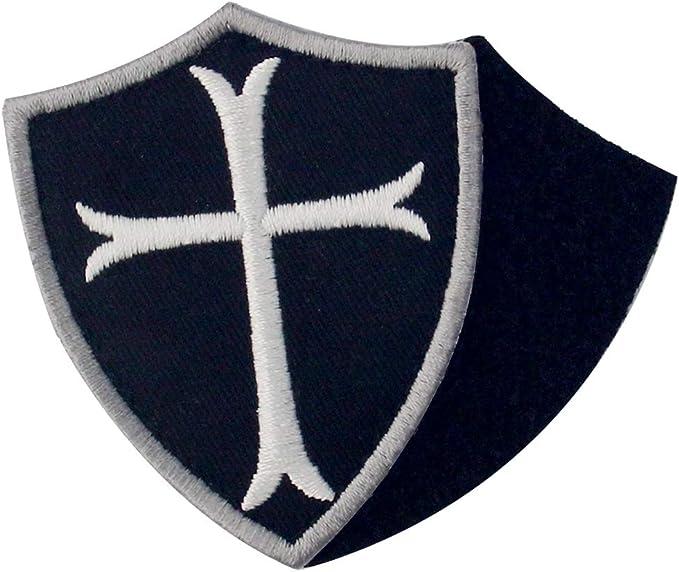 Caballeros templarios escudo cruzado militar moral Broche Bordado de Gancho y Parche de Gancho y bucle de cierre, Blanco negro: Amazon.es: Hogar