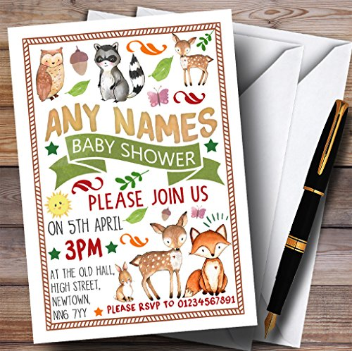 Woodland Animals Forest Invitations Baby Shower Invitations