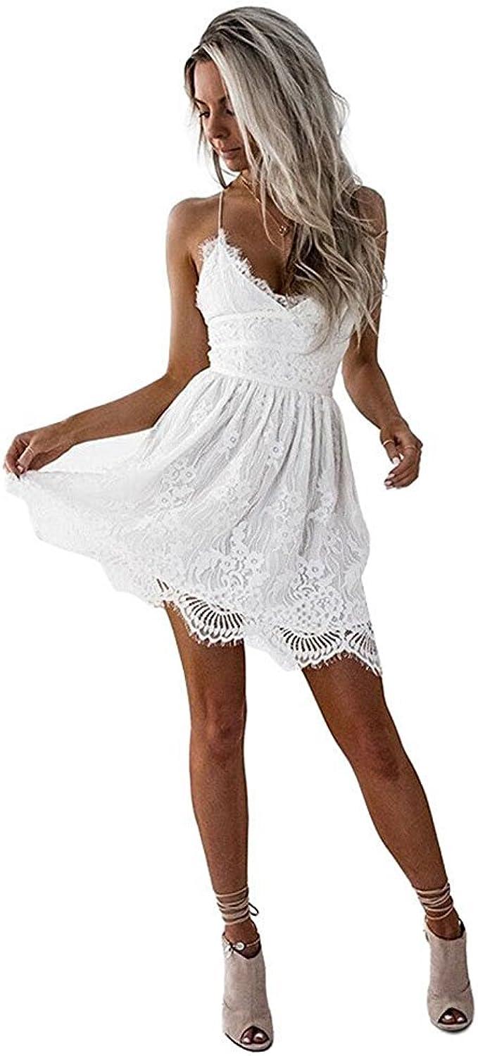 Hey~Yo Damen Kleider Sommer Casual Vintage Spitze V Ausschnitt Kleid Träger  Strandkleider Mini Spitzenkleid Rückenfreies Clubwear-Kleid Weiß