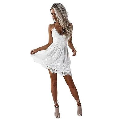 online retailer 336ac 9a2c3 Hey~Yo Damen Kleider Sommer Casual Vintage Spitze V Ausschnitt Kleid Träger  Strandkleider Mini Spitzenkleid Rückenfreies Clubwear-Kleid Weiß