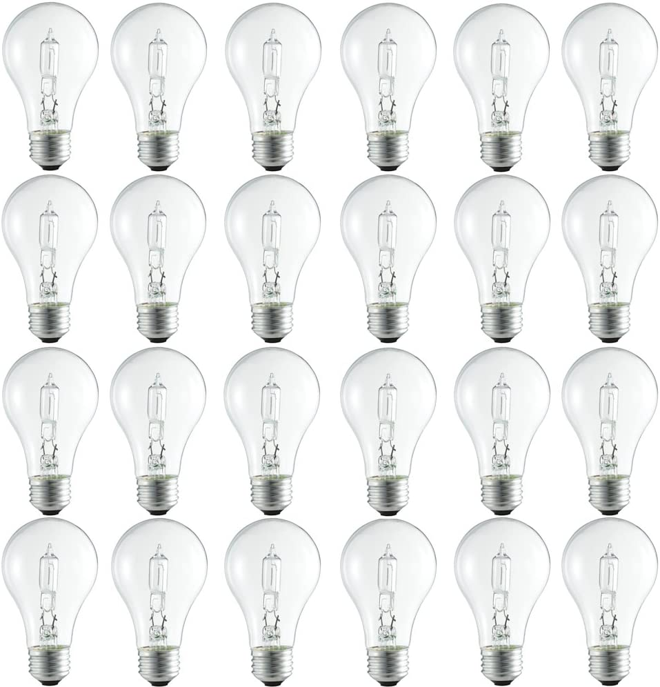 Philips Clear Dimmable A19 Halogen Light Bulb: 2990-Kelvin, 72-Watt (100-Watt Equivalent), E26 Medium Screw Base, Bright White, 24-Pack