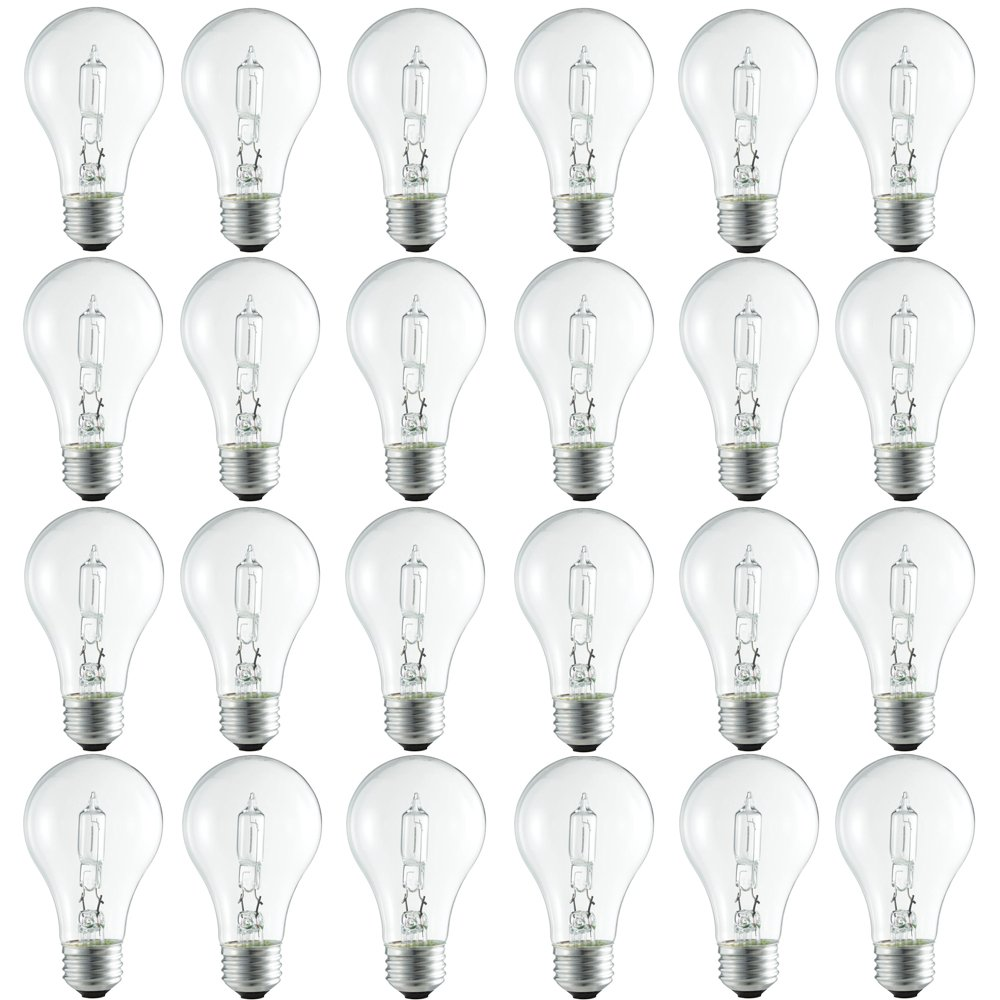 Philips Halogen Clear Dimmable A19 Light Bulb: 750-Lumen, 2920-Kelvin, 43-Watt (60-Watt Equivalent), Medium Screw Base, Bright White, 24-Pack