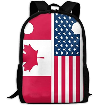 37d072de137 Image Unavailable. Image not available for. Color  Backpack Canadian And American  Flags Womens Laptop Backpacks School ...