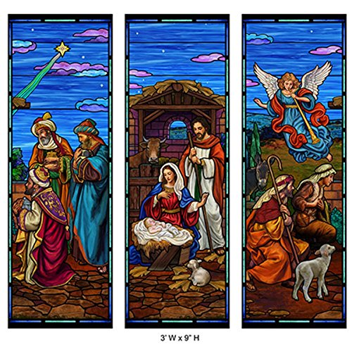 Stained Glass Christmas Nativity Banner Set, 3 Foot (W) x 9 Foot (H)