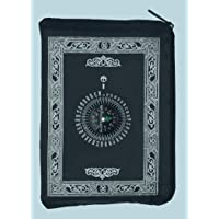 Smart Home Pocket Prayer Mat Portable Prayer Rug Waterproof Material Light Weight with Simple Qibla Compass for Travel & Daily Multiple Use (Black)