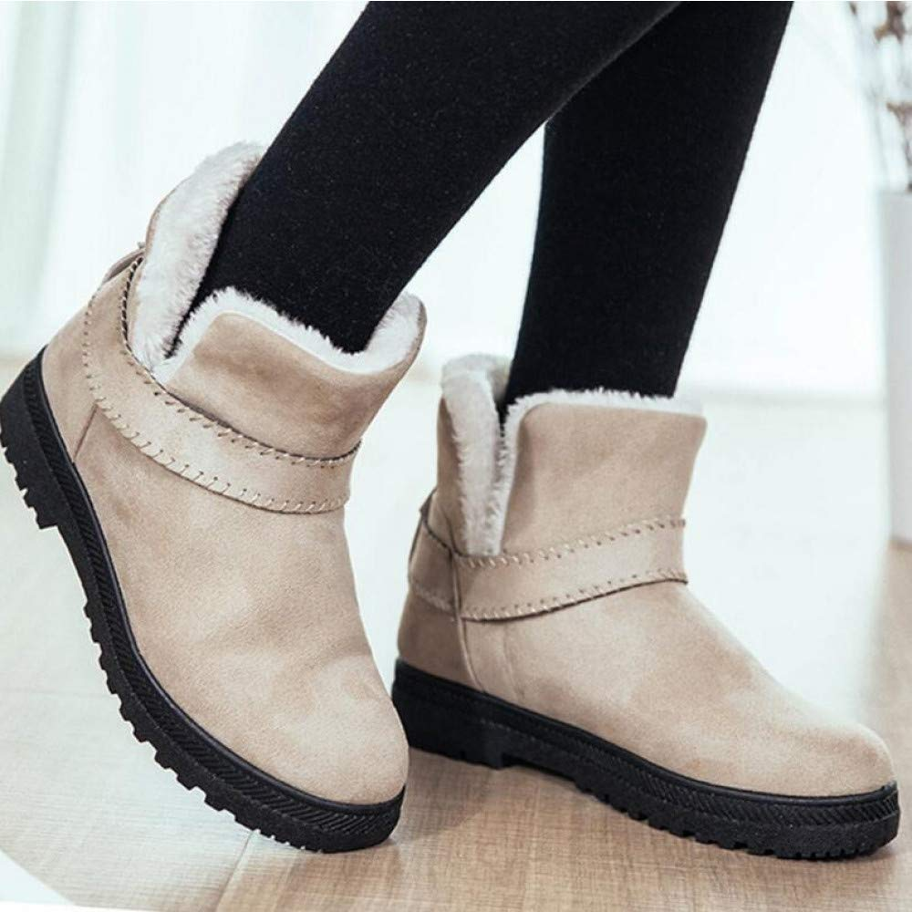 PINGXIANNV Mode Warme Schneeschuhe Heels Winterstiefel Frauen Stiefeletten Frauen Schuhe Warme Einlegesohle Schuhe Frau
