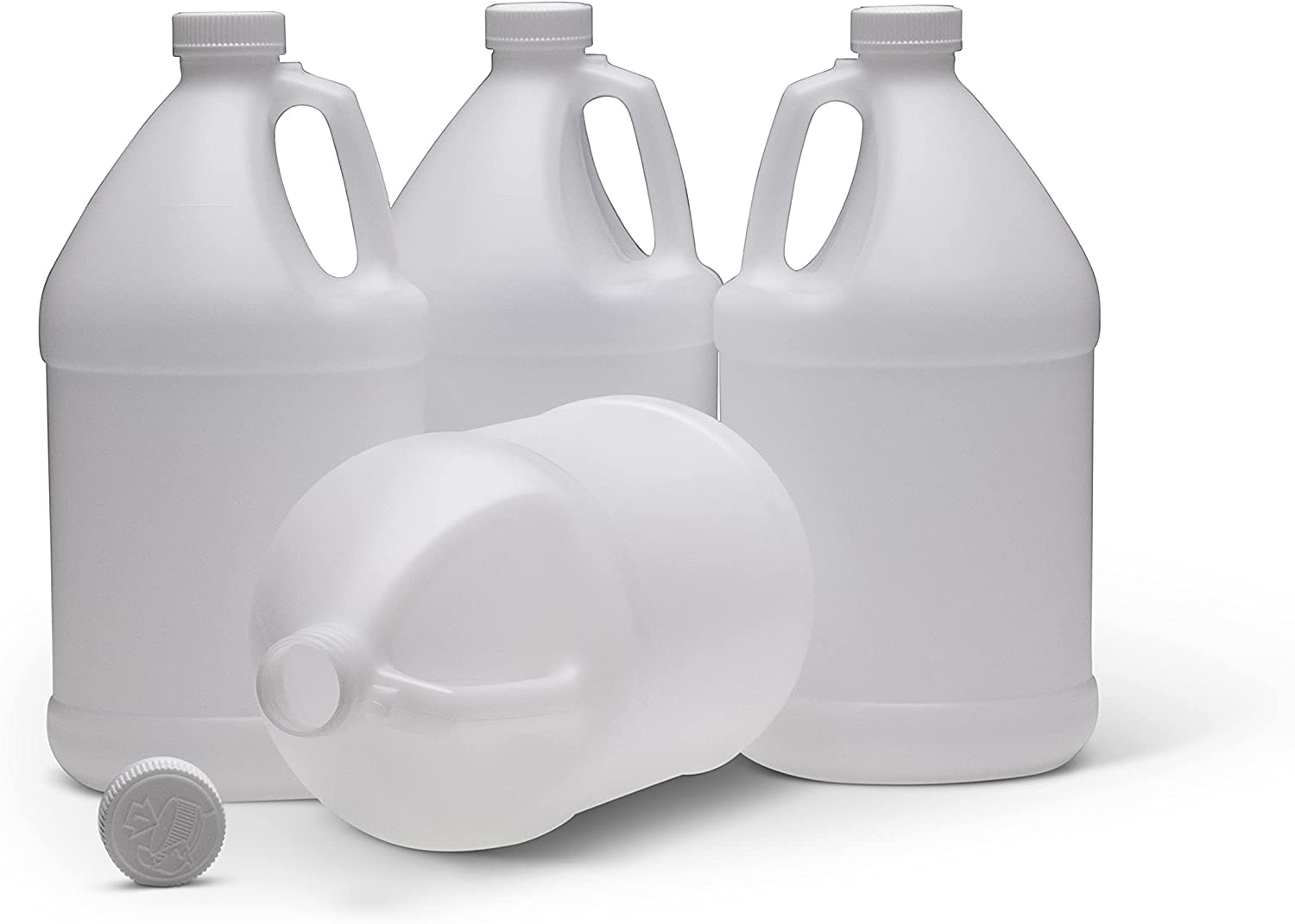 MHO Containers | 1 Gallon HDPE Plastic Jug with Reshipper Box and Child-Resistant Caps | Made in USA — Pack of 4