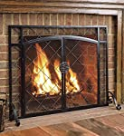 Celtic Knot Large Fireplace Screen with Hinged Doors, Powder Coated Steel Frame, Metal Mesh, Decorative Design, Free Standing Spark Guard- 44 W x 33 H Black