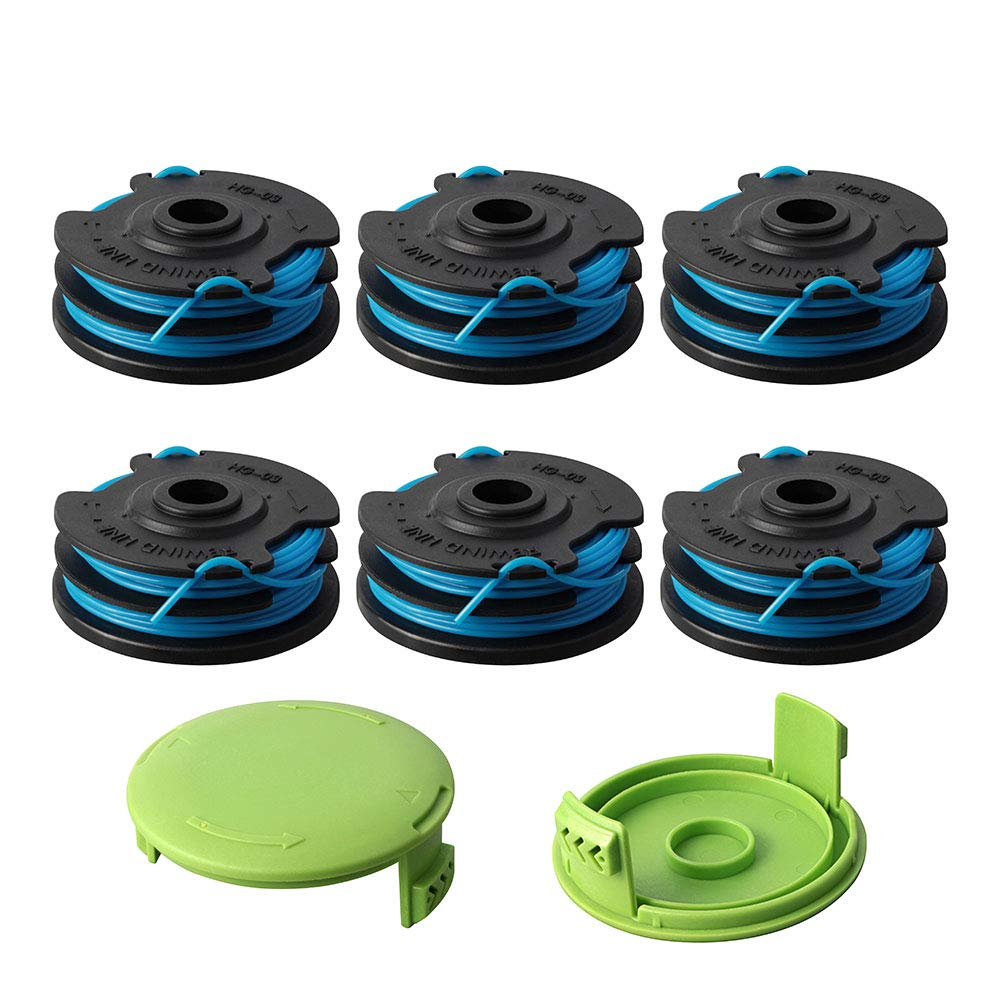 Thten Trimmer Spool Replacement for Greenworks 29242 29082 27ft 0.065 inch with Greenworks 21052 29272 and 21212 Dual line 0.062'' Electric String Trimmers with 3410468 Cap Covers Parts(6Pack+2 Cap) by Faracent