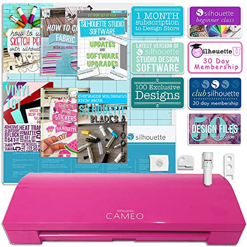 110v Printer (Glitter Pink Silhouette Cameo 3 with Bluetooth, Auto Adjusting Cutting Blades, Vinyl Trimmer, 12x12 Mat, 100 Designs, 110v-220v Power Cord, Warranty)