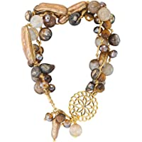 Pulsera para Mujer de 3 Hilos en café con perlas cultivadas, cristales checos, dije de flor en chapa de oro de 14 K
