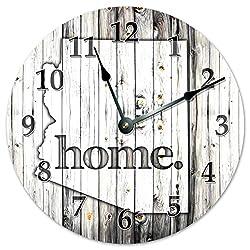 ARIZONA STATE HOME CLOCK Black and White Rustic Clock - Large 10.5 Wall Clock
