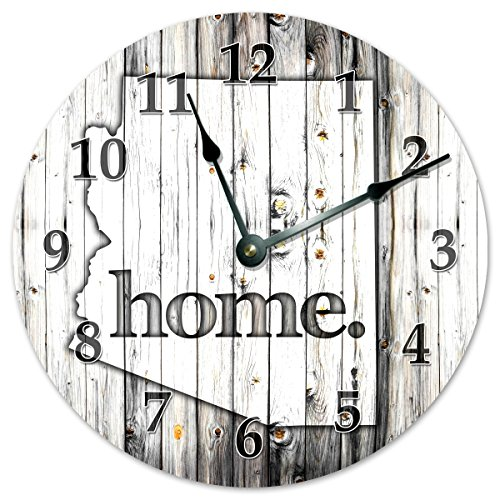 ARIZONA STATE HOME CLOCK Black and White Rustic Clock - Large 10.5'' Wall Clock by Sugar Vine Art