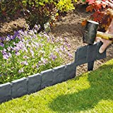 10 Pack Dark Grey Cobbled Stone Effect Garden Lawn Edging Plant Border - Simply Hammer In