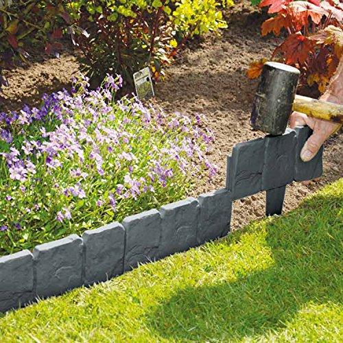 10Stück Dark Grau gepflasterten Stein Effekt Garden Rasenkante Pflanze Bordüre-einfach Hammer in