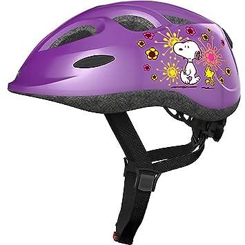 ABUS – Casco de bicicleta para niños Casco Smiley Peanuts Flower PURBLE 45 – 50 cm