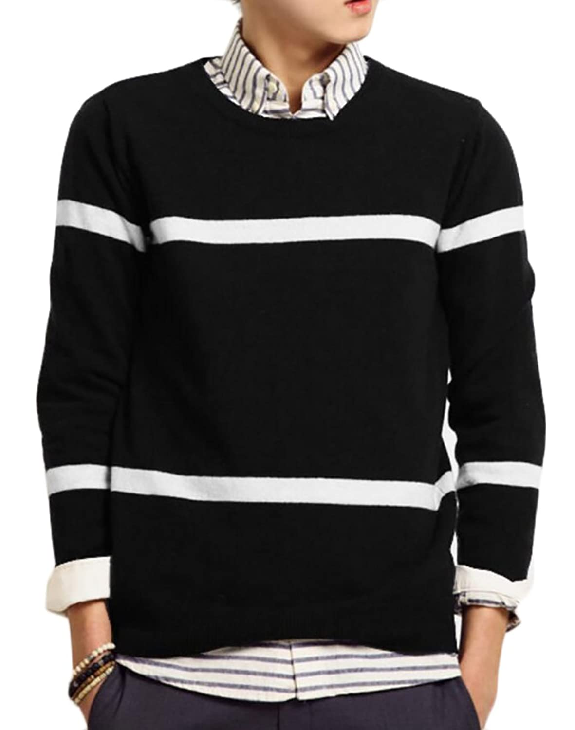 d8efc425c2e5 CRYYU-Men Plus Size Long Sleeve Striped Knit Jumper Pullover Sweater ...