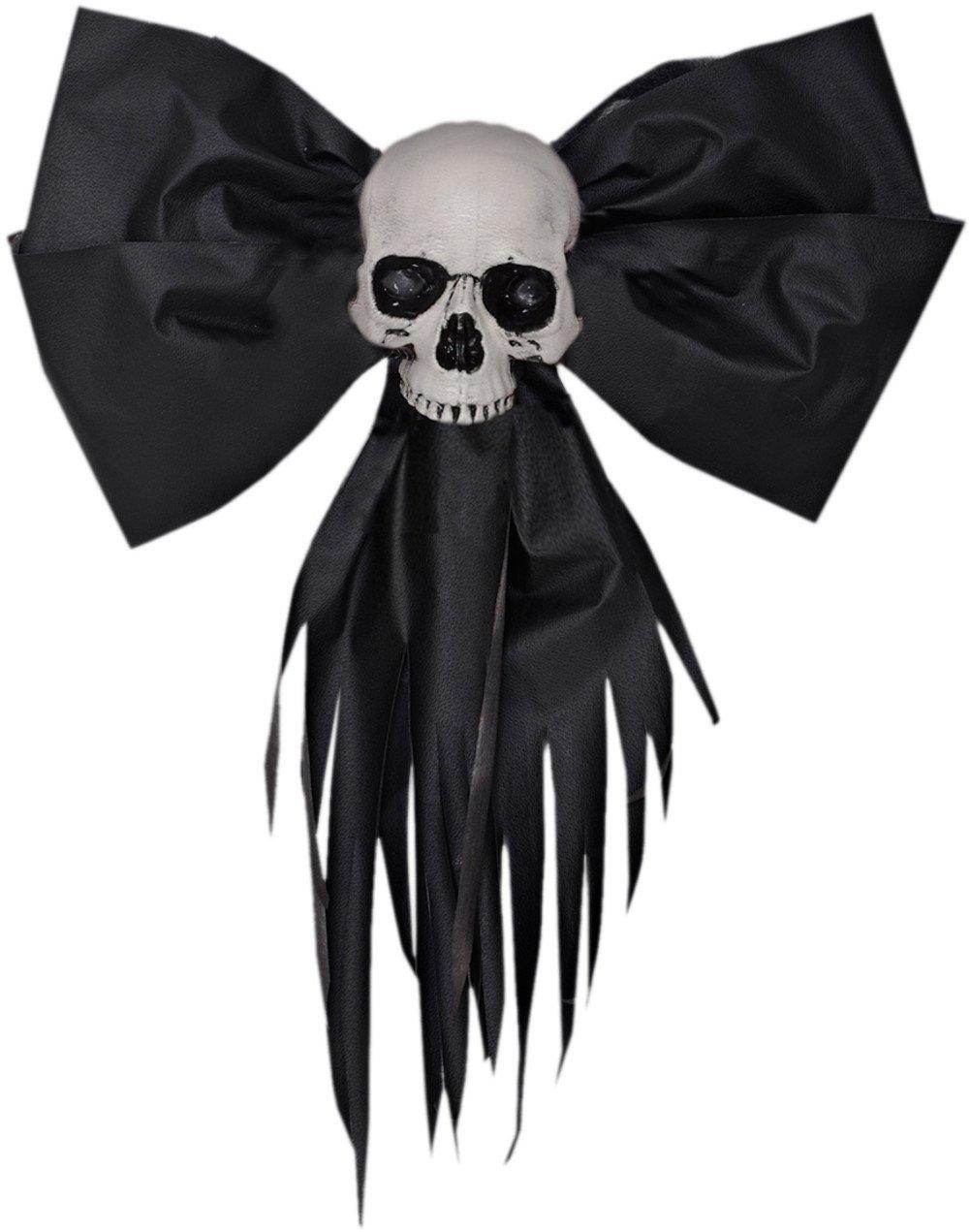 Large Black Skull Creepmas Bow Wall Door Christmas Halloween Decoration