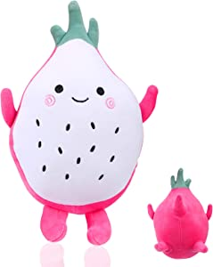 PLAZALA Dragon Fruit Plush Pillow, 12 inch Cute Stuffed Toys Food Hugging Pillow Sleeping Comfort Cushion