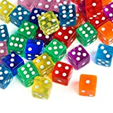 GWHOLE 6-Sided Dice Set for Math Learning, Casino, Games, Party Favor and Gifts, 8 Colors