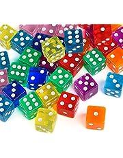 GWHOLE 6 zijdige dobbelstenen spel dobbelstenen spot dobbelstenen set voor wiskunde leren, casino, feestgunst en cadeaus, 8 kleuren