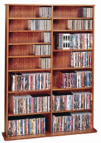 Leslie Dame High Capacity Oak Veneer Multimedia Storage Rack, Cherry