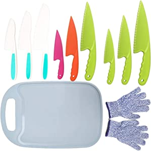 11Pcs Kids Plastic Knife Set,BPA-Free Children's Safe Cooking Knife Set 9Pcs Kid Nylon Knives With Cut Resistant Gloves(Ages 6-12)&Cutting Board for Fruit,Bread,Cake,Lettcue,Salad (Blue)