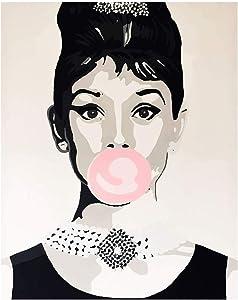 "Audrey Hepburn Wall Art Canvas Print | Includes Cute Audrey Pin | Pop Art Wall Decor | Breakfast at Tiffany's Inspired Poster Size 16""x20"" unframed"
