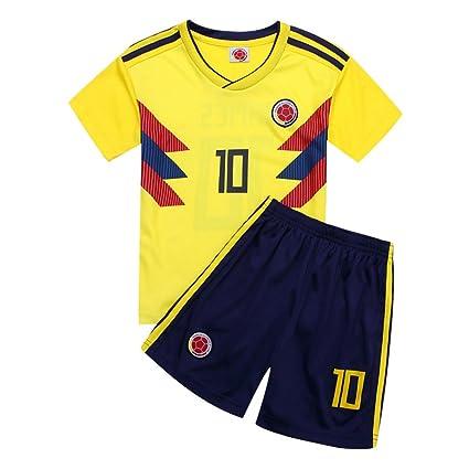 DLpf 2018 Soccer Colombia 10 Home Juego de Fútbol para Niños Conjunto de Manga Corta Camiseta