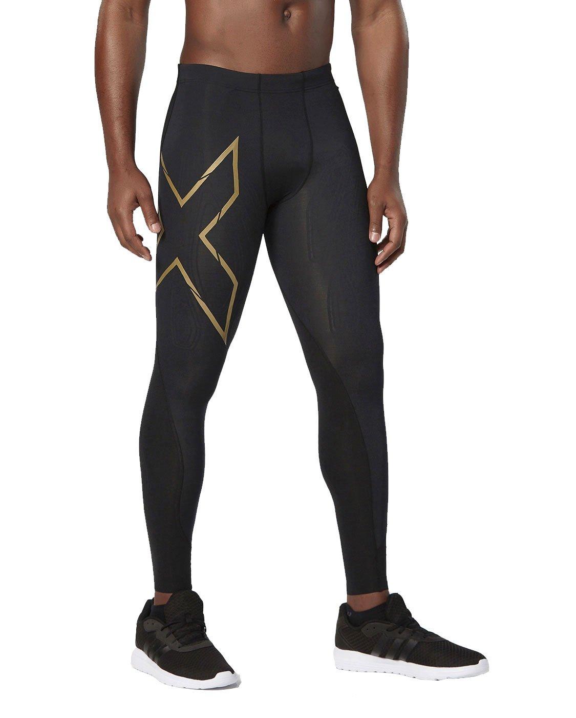 2XU Men's Elite MCS Compression Tights, Black/Gold, X-Large